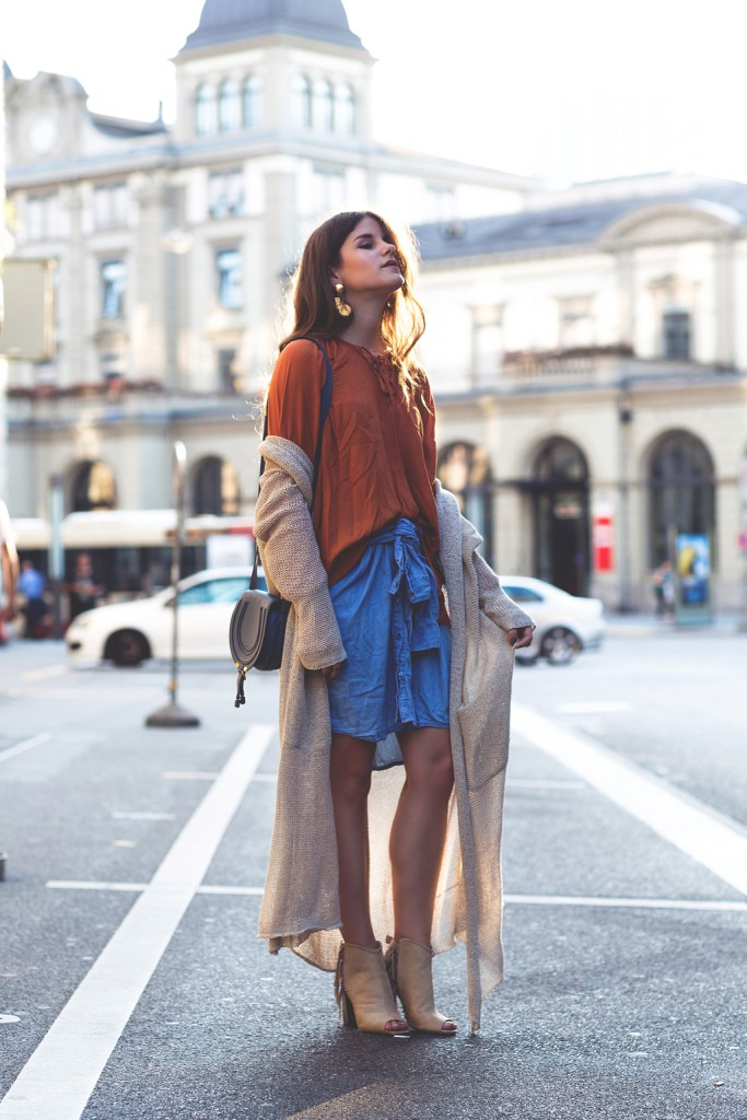 The-Fashion-Fraction-Style-Inspiration-Boho-Outfit-Fringed-Booties-Chloe-Marcie-Bag-Blue-Maxi-Cardigan-Lace-Up-Blouse-Shirt-as-Skirt-1